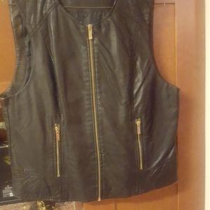 Calvin Klein black leather vest